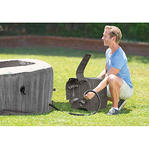 Intex Greywood Deluxe 4 Person Inflatable Portable Heated Bubble Hot Tub Jet Spa and Cover Package, Grey