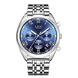 Orologio da polso da uomo cronografo, analogico, con quadrante blu, elegante e classico, cinturino in acciaio inox