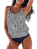 BIKINX Striped Tankini Swimsuits for Women Plus...