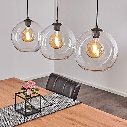Suspension Minhe en métal noir et verre, lampe pendante vintage idéale dans un salon rétro, hauteur max. 153 cm, pour 3 ampoules E27 max. 60 Watt, compatible LED