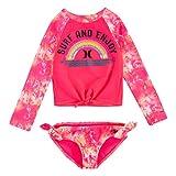 Hurley Girls' Long Sleeve Rash Guard 2-Piece Swimsuit Set, Hyper Pink, 3T