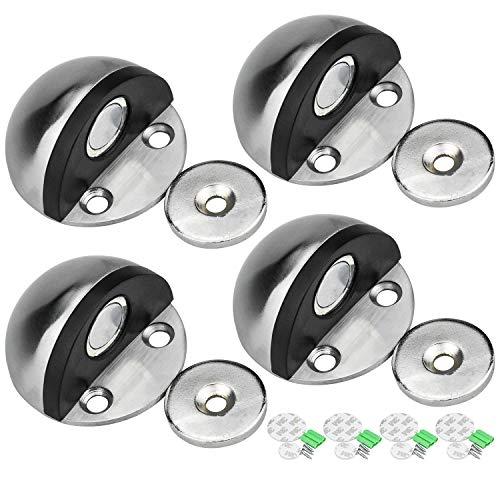 DESON 4 Piezas Tope para Puerta Magnético, Tope de Puerta para Suelo de Acero Inoxidable para Pared y Piso - con Adhesivos y Tornillos
