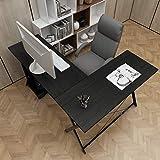 sogesfurniture L-Shaped Desk Corner Table Computer Desk Workstation Desk PC Laptop Office Desk L Desk, Black BHUS-ZJ1-BK