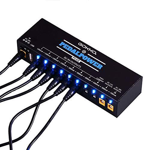 GOKKO Guitar Pedal Power Supply with 10 DC Outputs for 9V/12V/18V Effect Pedals