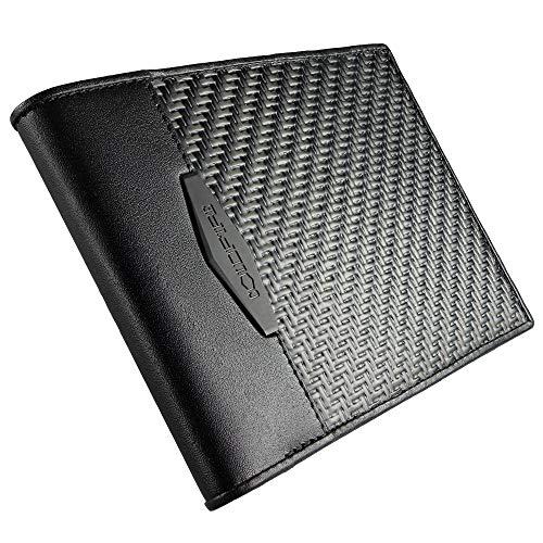COLDFIRE Taktische Geldbörse mit Ausweis und Münzfach Handgefertigt aus CX6-Karbonfaser und echtem Känguru-Leder, RFID-Blockierung, ultradünn, minimalistisch faltbar, luxuriöse Box. Hergestellt in Eur
