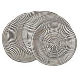 Pauwer 38cm Manteles individuales redondos Juego de 6 Tapetes de mesa resistentes al calor antideslizantes tejidos trenzados para reuniones de banquete de boda de cocina de Navidad gris