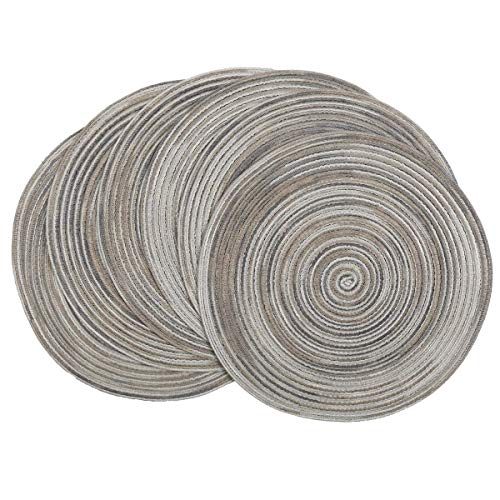Pauwer 38cm Manteles individuales redondos Juego de 6 Tapetes de mesa resistentes...