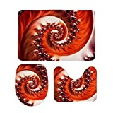 PotteLove Crimson Passion Fractal Spiral Heart of The Rose 3 Piece Bathroom Rug Set Bath Mat Shower Rug, U Shaped Contour Mat, Lid Cover Non-Slip with Rubber Backing 16' x 24'
