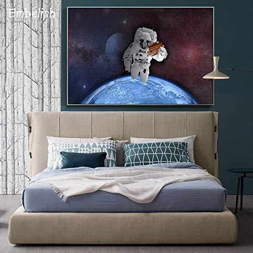 KWzEQ Imprimir en Lienzo Astronauta en el Espacio pósters de Pared y decoración del hogar para Sala de estar50x75cmPintura sin Marco
