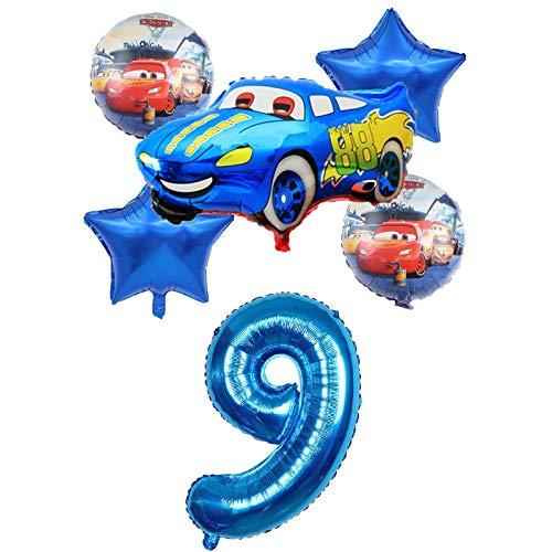 XIAOYAN Globos 6 unids Racing Coche Lightning Mcqueen Cumpleaños Globos Baby Cumpleaños Fiesta Decoraciones Suministros 32 Pulgadas Número Foil Ballons Kid Toy ( Color : Blue9 )
