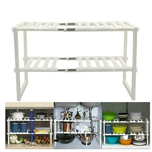 Estantería de almacenamiento ajustable para debajo del fregadero de la cocina de 2 niveles