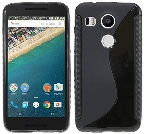 ENERGMiX Silikon Hülle kompatibel mit LG Google Nexus 5X Tasche Hülle Gummi Schutzhülle Zubehör in Schwarz