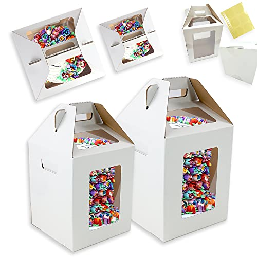 Tri-Handle Tall Cake Boxes With Windows In 2 Sizes 6 Pack 10x10x12 and 12x12x14 Inch Disposable Bakery Boxes Cake Caddy Carrier Container Transport Ideal for Large 12' and 14' Inch Tall Layer Tiered Cakes
