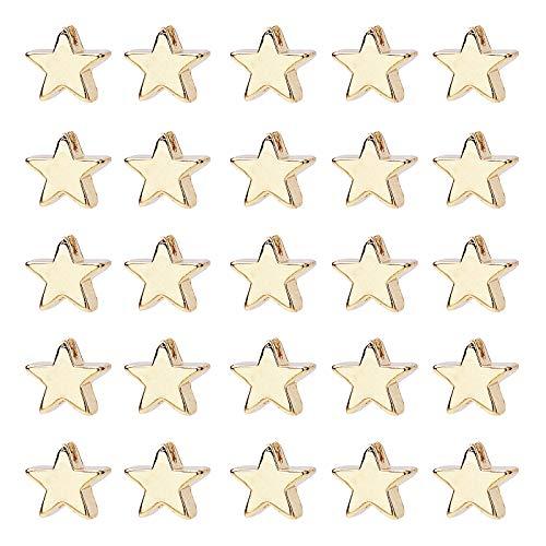 PandaHall 60 cuentas de estrella de latón, chapado en oro de larga duración, cuentas espaciadoras de estrella de metal, cuentas de estrella para collares y pulseras, pendientes y manualidades