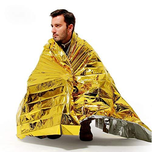 Nosii Wasserdichte Rettungsdecke für den Außenbereich Survival Thermal Space Schlafsack Shelter (Color : Gold)