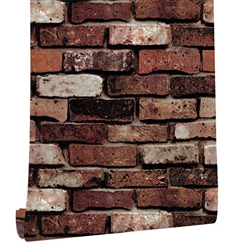 HaokHome 620501 レンガの壁紙0.45mX6m壁のステッカー錆びた赤/茶色の かんたん貼付シールタイプ 性の壁の装飾