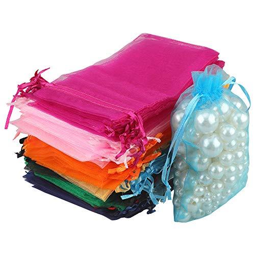 G2PLUS 100pcs Sacs Organza,Sachets Pochettes Cadeau en Organza Sac à Bijoux,Sachets pour Lavande Idéales pour Bijoux Cadeaux Bonbons Marriage-10x15cm Couleur