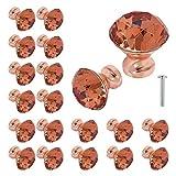 20pcs Crystal Glass Cabinet Door Knobs 30mm K9 Rose Gold Diamond Shape Pull Handle for Kitchen Drawer Wardrobe Cupboard