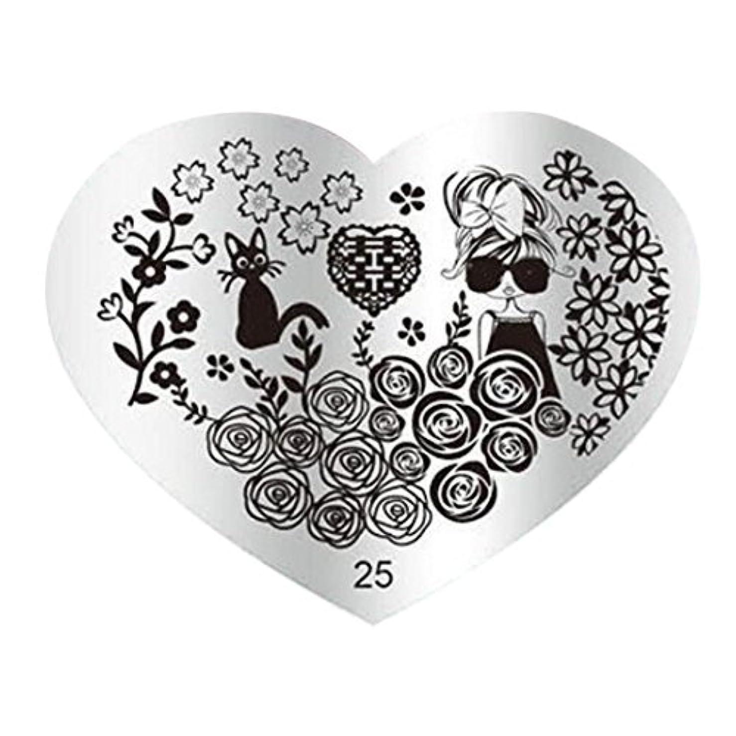 呼吸考慮追い払うSODIAL DIYネイルアート画像スタンププレート マニキュアテンプレートパンチング(25#)