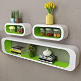 Festnight Set of 3 Floating Wall Display Shelves Book DVD Storage Cubes MDF Wall Mounted Collectables Bookshelf for Living Room Home Office Decor Furniture (Green)