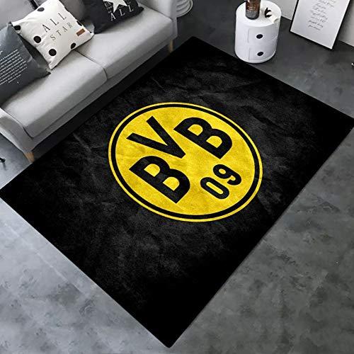 INSTUS Teppich Creative Einfach Kunst Dekoration Teppich Fußball Verein Logo Drucken Rutschfeste Matte Kinderzimmer Dekoration Fußbodenteppich/Dortm / 80×120 cm