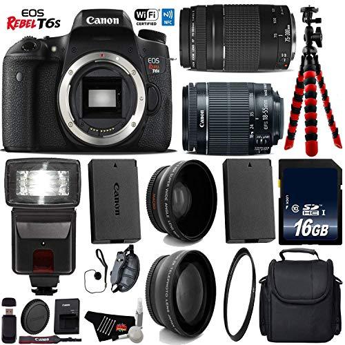 Best Bargain Canon EOS Rebel T6S DSLR Camera with 18-55mm is STM Lens & 75-300mm III Lens + Flash + ...