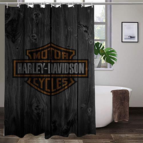 Harley Davidson Duschvorhang, 167,6 x 182,9 cm, maschinenwaschbar, Stoff, Badezimmer-Dekor-Set mit Haken