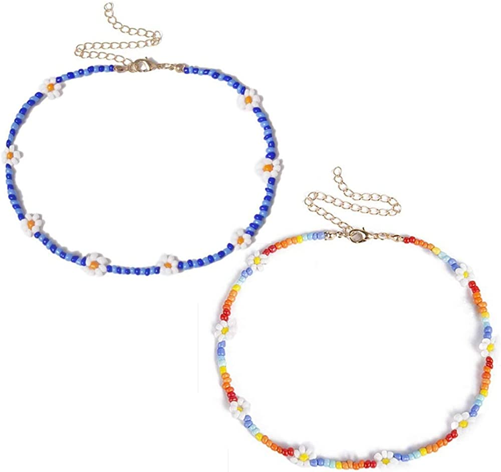 JOYID 2pcs Boho Beads Choker Necklace Chain Sweet Daisy Flower Necklaces Jewelry for Women Girls