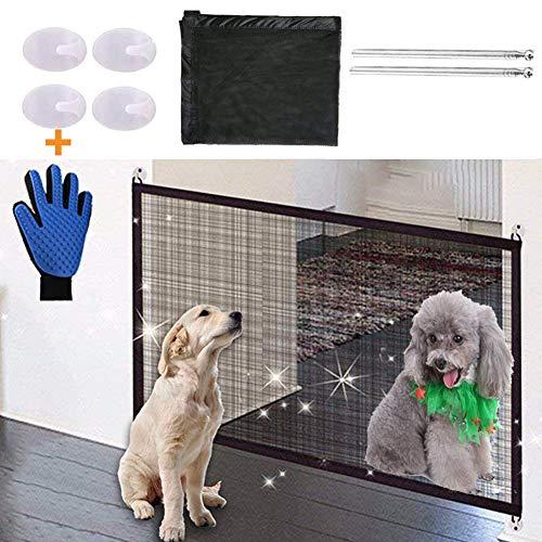 Nifogo Magic Gate Schutzgitter Haustiere, Hund Safe Guard, Portable Folding Safe, Faltbar Kunststoff Hund Safe Guard Trennwand installieren überall 110x72 (Black) … (schwarz)