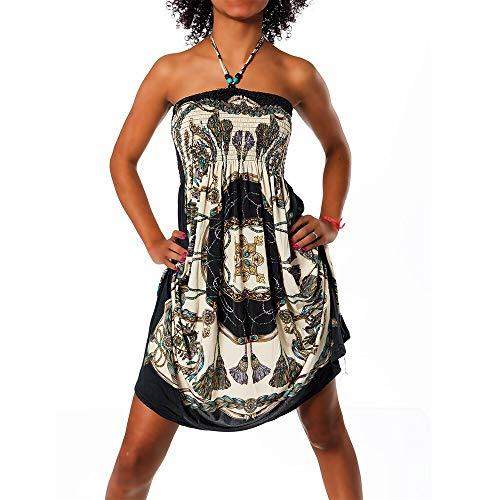 Diva-Jeans Damen Sommer Aztec Bandeau Bunt Tuch Kleid Tuchkleid Strandkleid Neckholder H112, Farbe: N-6217 schwarz, Größe: Einheitsgröße