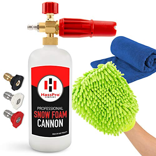 HassPro Foam Cannon Pressure Washer Gun - Premium Quality Foam Blaster 1LT Bottle with 1/4' Heavy...