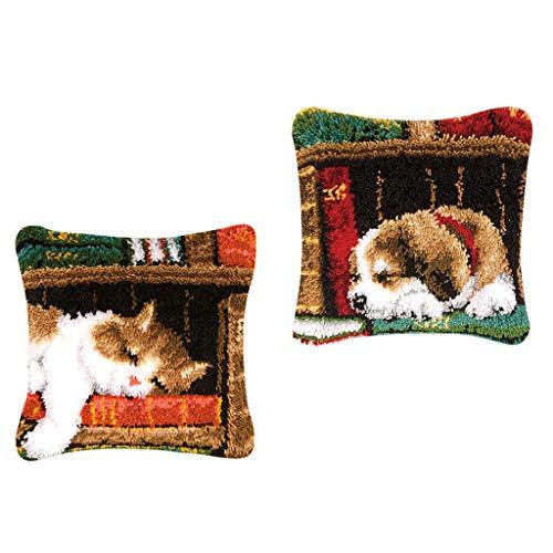 joyMerit 2 Unids/Set Kits de Gancho de Pestillo para DIY Funda de Almohada para Sofá Funda de Cojín para Perro/Gato con Impreso 17X17 Pulgadas