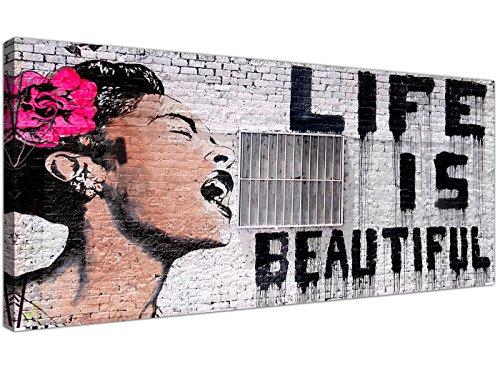 Wallfillers® - Grafiti de Banksy «Life is Beautiful» en lienzo impreso, color negro, blanco y rosa