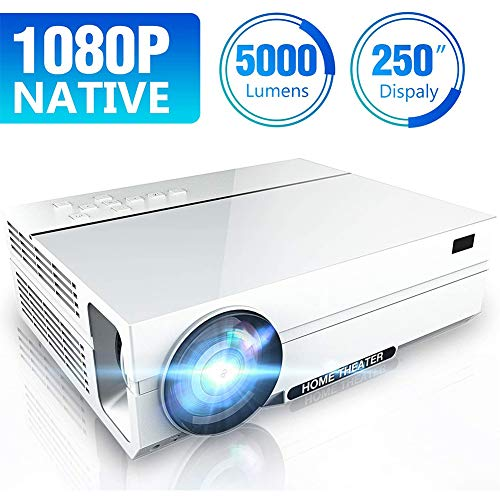 POEO Proyector de Video, Proyector Full HD Native 1920 x 1080P, Vida útil de 20000 Horas, 5000 Lux, 2 Altavoces de Alta Fidelidad, Compatible con TV Stick, HDMI, USB, Tarjeta SD, VGA, AV