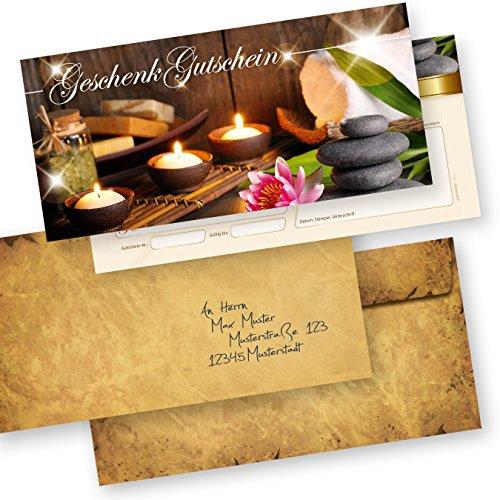 Geschenkgutscheine Massage & Beauty (100 Stück mit Umschläge) einfach Werte eintragen und stempeln, für Massage & Wellness