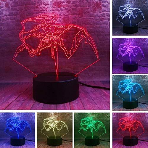 Anime 3D Lámpara de ilusión LED Luz nocturna Mesita de noche óptica Luces nocturnas 16 Cambio de color Botón táctil Decoración Lámparas de escritorio,