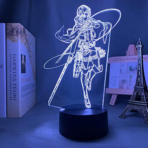 Lámpara de noche 3D Lámpara de Anime Led Attack On Titan Levi Ackerman Luz creativa 3D para decoración de dormitorio Niños Attack On Titan-16_Color_With_Remote