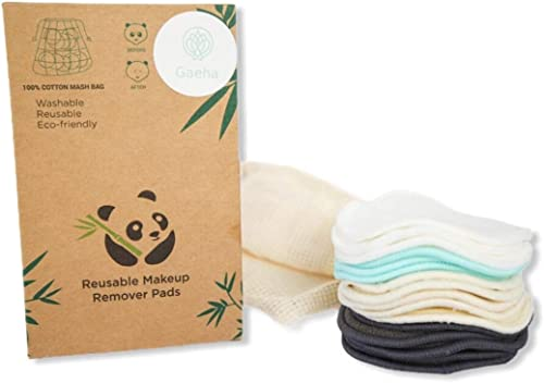 16 Reusable Makeup Remover Pads | Washable Organic Cotton, Bamboo, Hemp Material | Sustainable, Eco-Friendly Eye and ...