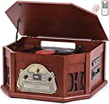 ORCC 10-in-1 Turntable Record Player with Bluetooth Connection, CD & Cassette Player, AM/FM Radio, USB & SD Slot, 2 Built-in Speakers, Remote Control