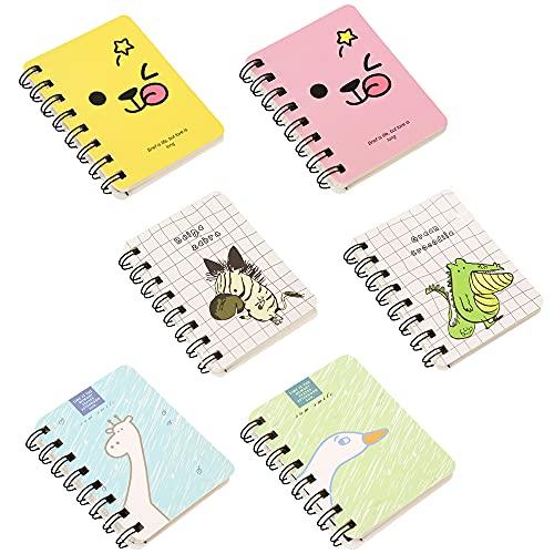 12 Stücke Pocket Notebook, A7 Mini Spiral Notebook, Klein Notizbuch, Taschen-Notizbücher, Tier Mini Notizbuch, Pocket Memo Pads, 6 Muster, für Reisen planen und Erinnerungen aufschreiben