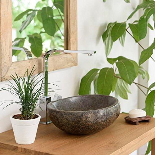 wohnfreuden 30 cm Naturstein Waschbecken Steinwaschbecken | einzeln geprüft und fotografiert ✓ Waschbecken aus Stein in rund oder oval | Aufsatzwaschbecken für Bad WC