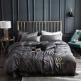 Funda nórdica y 2 Fundas de Almohada,La seda de hielo de verano es ropa de cama para dormir, funda de cama de cuatro piezas, color sólido, edredón doble individual-H_Cama de 1,5 m (4 piezas)
