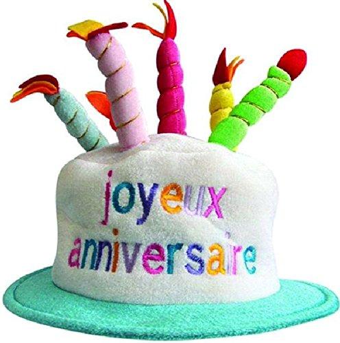 Mondial-Fete - Chapeau Happy Birthday Tissu avec Bougies