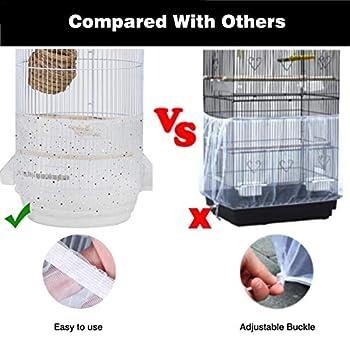 Eventualx Housse universelle pour cage à oiseaux - En nylon - Pour perroquet - Blanc - Longueur : 30-45 cm