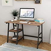 SogesPower 47 inch Computer Desk Desk Laptop Table PC Desk, Home Office Sturdy Table, Retro, SPWK-Tplus-120FG-CA