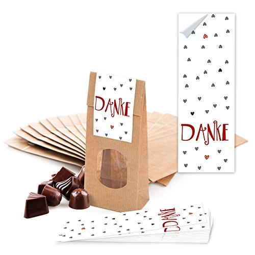 25 kleine braune Blockbodenbeutel MIT Fenster + Pergamineinlage (7 x 4 x 20,5 cm) + 25 Aufkleber (5 x 15) DANKE rot graue HERZEN Teetüten Süßigkeiten Pralinen Plätzchen-Tüte Geschenktüte give-aways