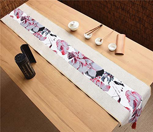 OLOEY Mantel de Boda Chino té Arte Estilo Chino algodón y Lino Retro TV gabinete Mesa de Comedor Camino de Mesa 30 * 180 cm Loto A