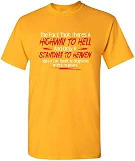 ZoDong There's A Highway to Hell Sarcastic Novelty Humor Funny T Shirt Gold
