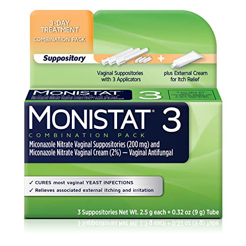 Monistat 3-Day Yeast Infection Treatment Suppositories + Itch Relief Cream, 7 Piece Set