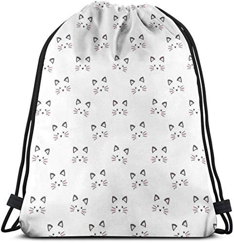 Zaino con coulisse Borsa unisex per viaggi in palestra, disegno di un viso arrossato Caratteristiche del gatto Baffi di gatto disegnati a mano stile cartone animato